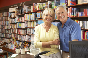 Couple running a small bookstore business